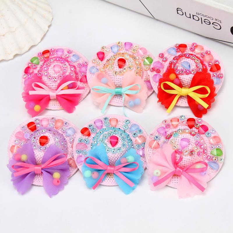 Fashion hat girls hair clips crystal bows baby BB clips lace flower kids barrettes cute designer hair accessories for kids hairclips A7252