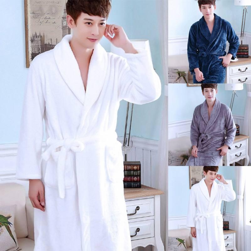 8ffd8c506e Winter Autumn 2018 Men s Bathrobe Flannel Warm Pajamas Thick Lapel Men  Women Sleepwear Long Sleeve Home Comfy Soft Bath Robe