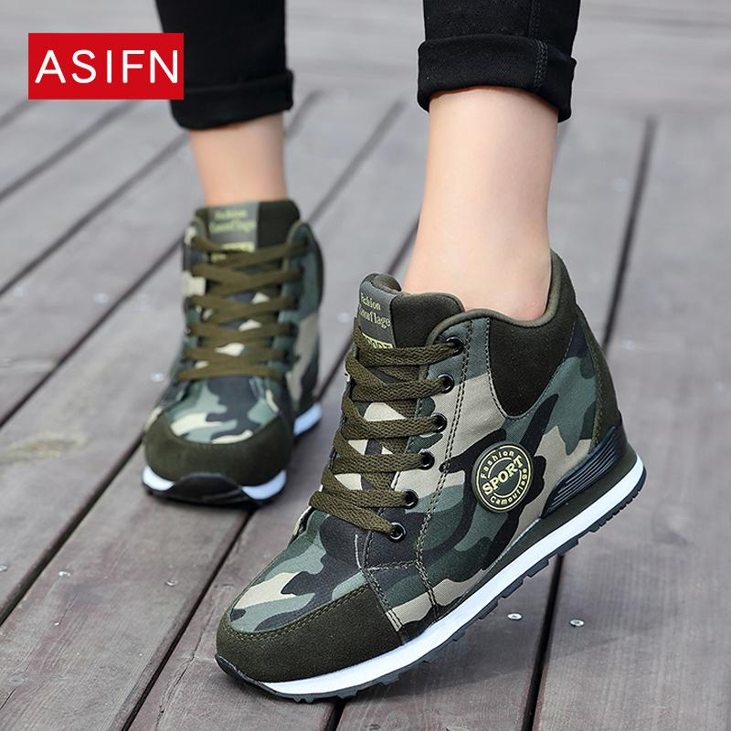 42dada973e5d0 Fashion Women Sneakers High Heels Spring Autumn Camouflage Casual Shoes  Woman Army Platform Wedges Height Increasing Shoes Fashion Shoes Shoes For  Sale From ...