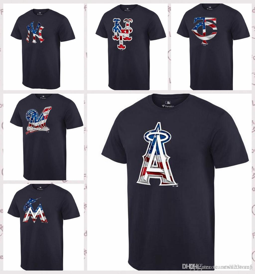 164a1678dc8 2019 Men S New York Yankees Los Angeles Angels Of Anaheim New York Mets  Minnesota Twins Milwaukee Brewers Miami Marlins Navy Banner Wave T S From  ...