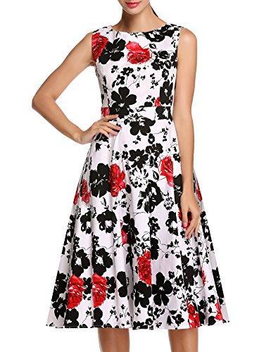 91ddcf0e3 Vestido sin mangas con estampado floral de primavera para la fiesta de  jardín de primavera de 1950 de ACEVOG para mujer