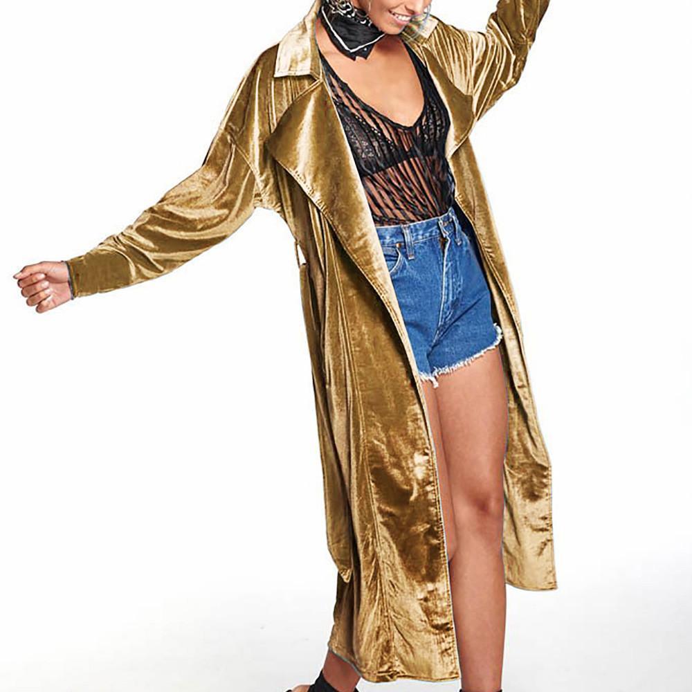 on sale 2a8f1 6f4aa Donne Solid Slim Fit manica lunga Peplo velluto lungo cappotto Cardigan  chaqueta mujer talla grande donna giacche