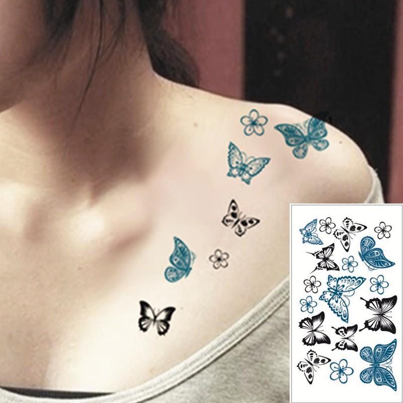 SHNAPIGN 25 Стиль Мини Временные татуировки Боди-арт, Черная бабочка, флэш-наклейки татуировки Держите 3-5 дней Водонепроницаемые 10,5 * 6 см