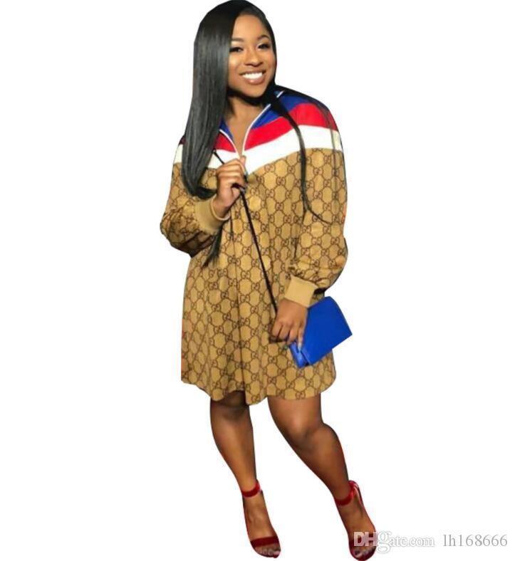 a227f4d88808d Satın Al Popüler Moda Kadınlar Casual Elbise 2019 Özel Yaka Boyun Uzun  Kollu Gevşek Baskı Panelli Mini Elbise Yaşı Azaltma Lady Spor J1549, $19.6  | DHgate.