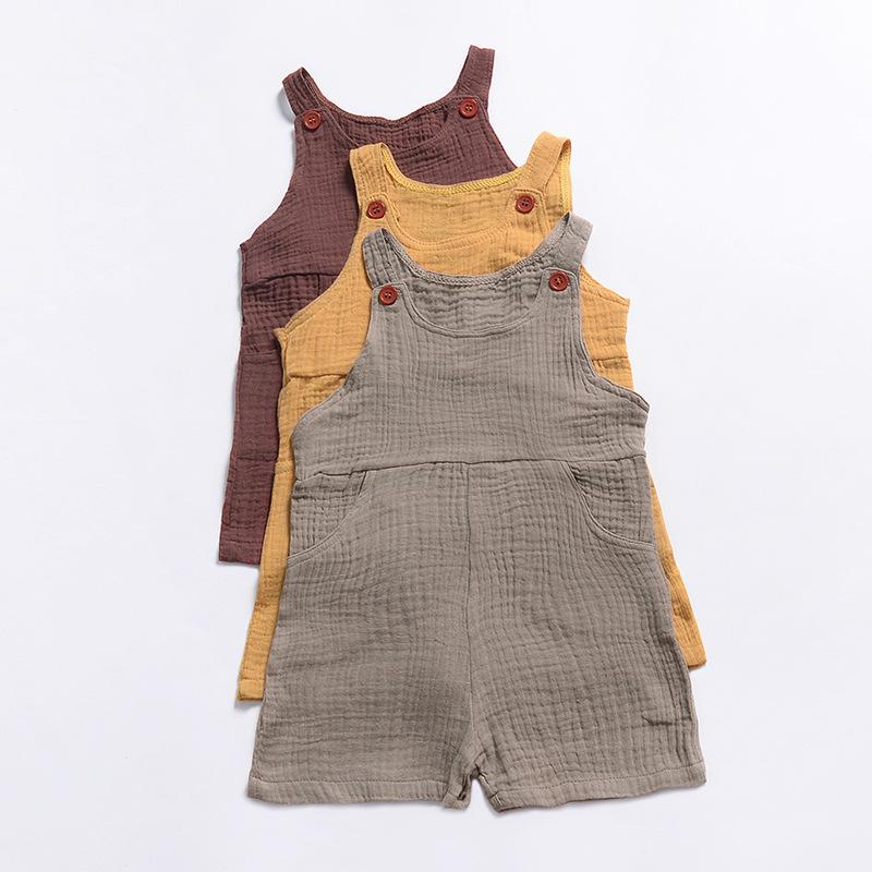 Everweekend Toddler Kids Western Pockets Button Sin mangas Romper Ropa Ins Venta caliente Color del caramelo Holiday Summer Newborn Romper
