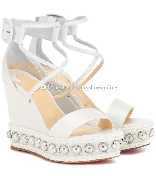 47ec9701437e Fashion Red Bottom Wedge Sandals Chocazeppa Women S High Heels White  Leather Ankle Strap Pearl Studs Wedges Perfect Wedding