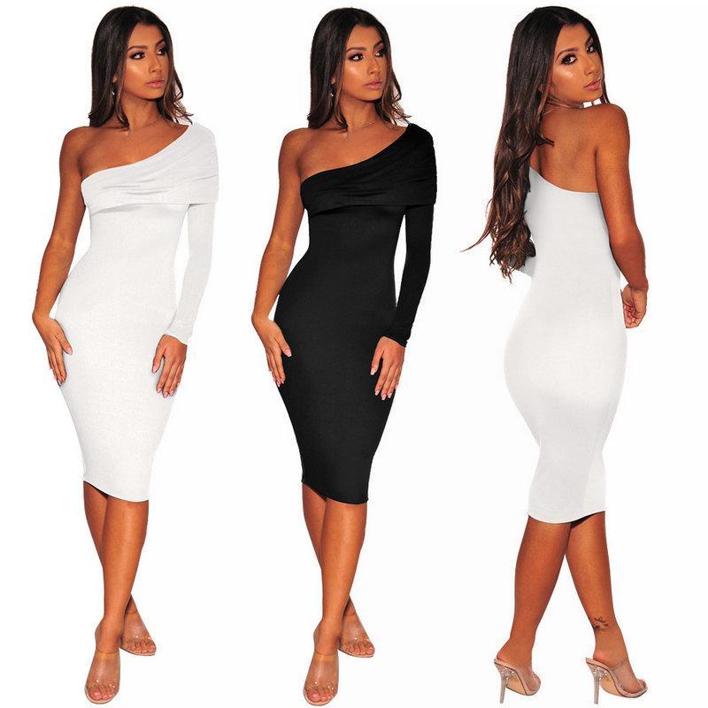 7d49796f1f6 Sexy Womens Dress One-shoulder Long Sleeve Bodycon Dress Fashion ...