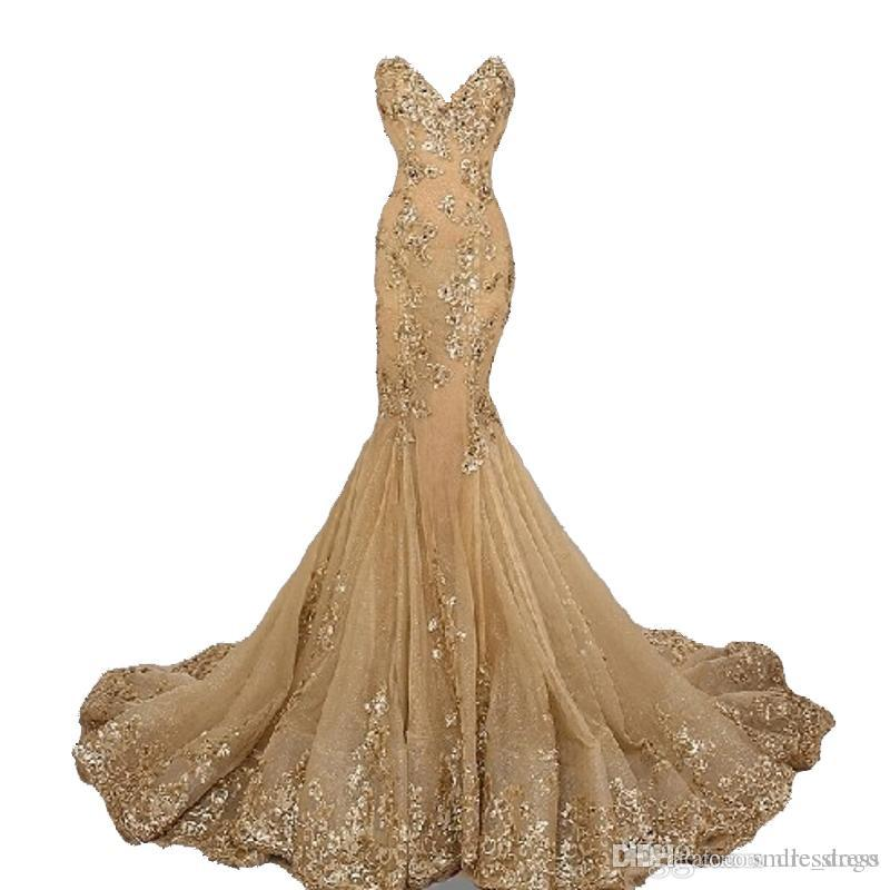 f1bd14bbbf7d Gold Celebrity Prom Dresses Long Plus Size Mermiad Sweetheart Lace Tulle  Long Formal Gowns Party Dresses Every Wear For Women Navy Blue Prom Dresses  ...