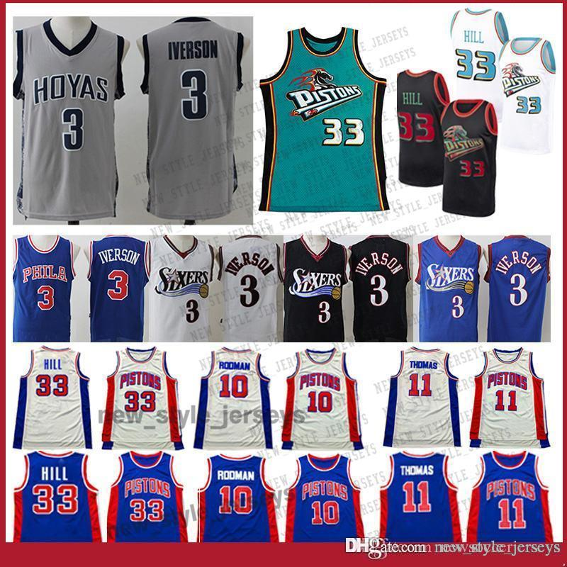 check out a8754 2f606 NCAA Hill Allen 3 Iverson Dennis Men 10 Rodman Jersey youth Grant 33 Hill  Isiah 11 Thomas Basketball Jerseys Julius