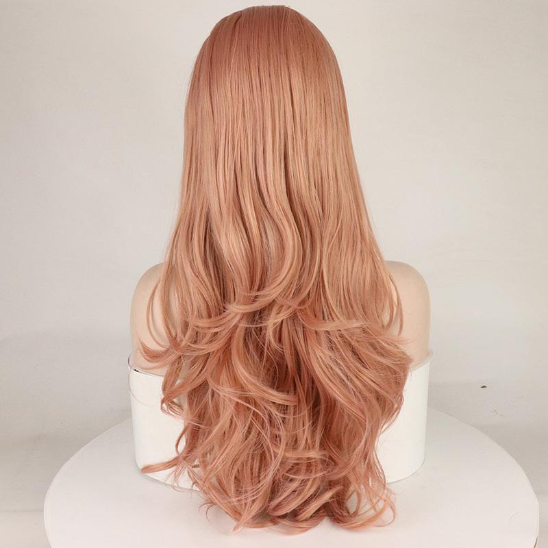 "Lace Front Wigs Long Pink Wig 26"" Rose Blonde Middle Part Glueless Synthetic Wig with Natural Body Wave for Wome"
