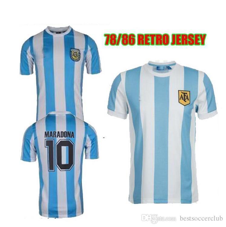 a15c61784f5 Retro Version 1986 Argentina Retro Home Soccer Jersey 10 Messi ...