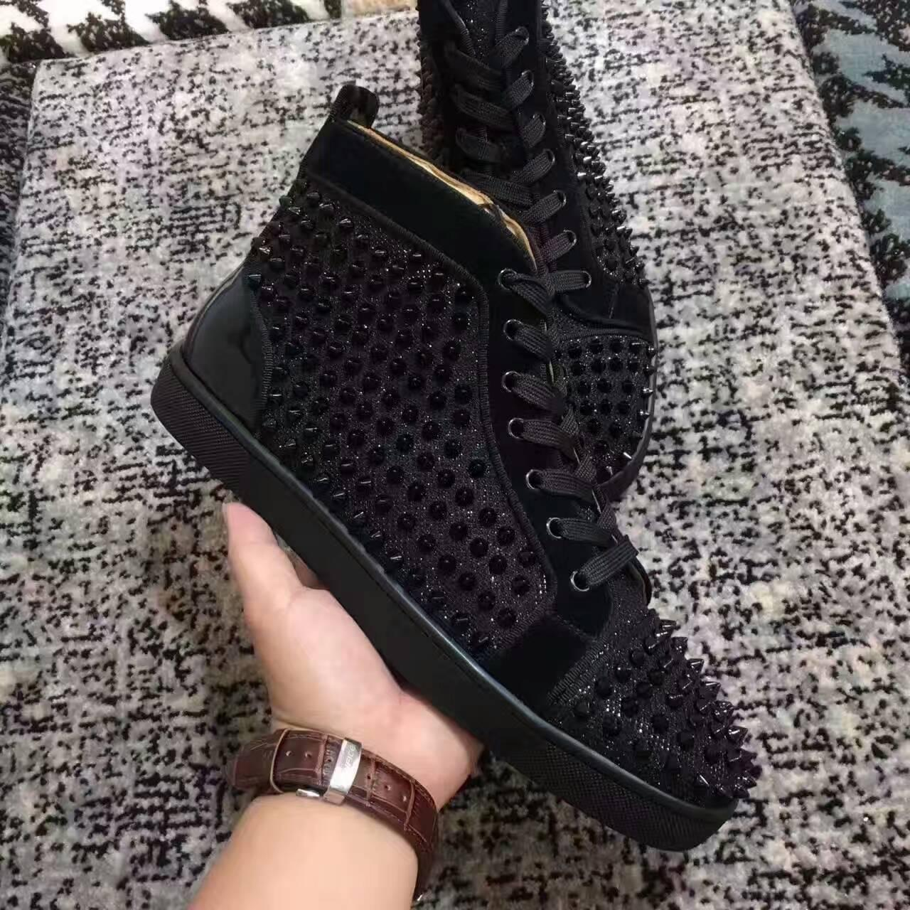2017New high quality high top black wire mesh with spikes red bottom casual shoes,womens fashion sneakers rock flat shoes size36-46