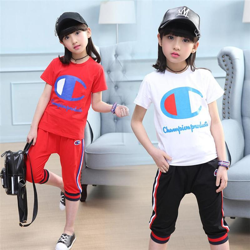 cbce18b1d Champion Kids Designer two Pieces Set Tracksuit Brand Letter Printed Short  Sleeve T shirt + Shorts Summer Girls Boys Short Sets suits A52703