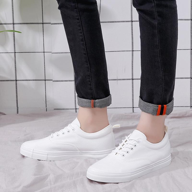 fec31f9a559 Men White Canvas Shoes Height Increasing Casual Shoes Men Sneakers Lace Up  Student Shoes Chaussure Hommesize 39 44 A573m Tennis Shoes Ladies Shoes  From ...
