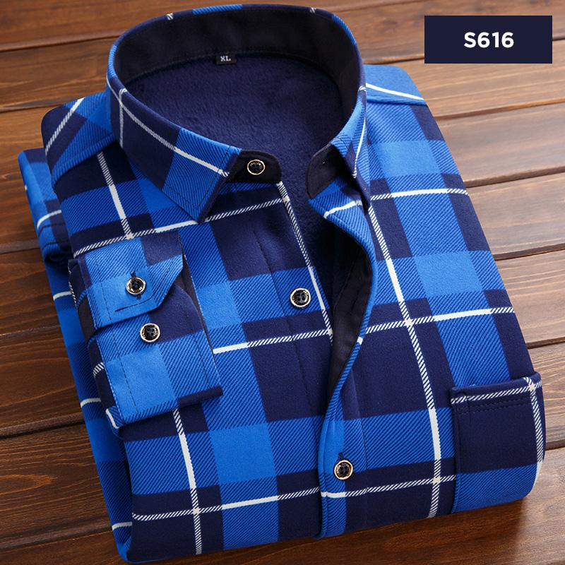 447e5833f35 2019 Thick Warm Shirt Men Striped Shirts Mens Slim Fit Casual Autumn Winter  Fleece Cotton Long Sleeve Masculina Plus Size 4XL ES288 From Workwell