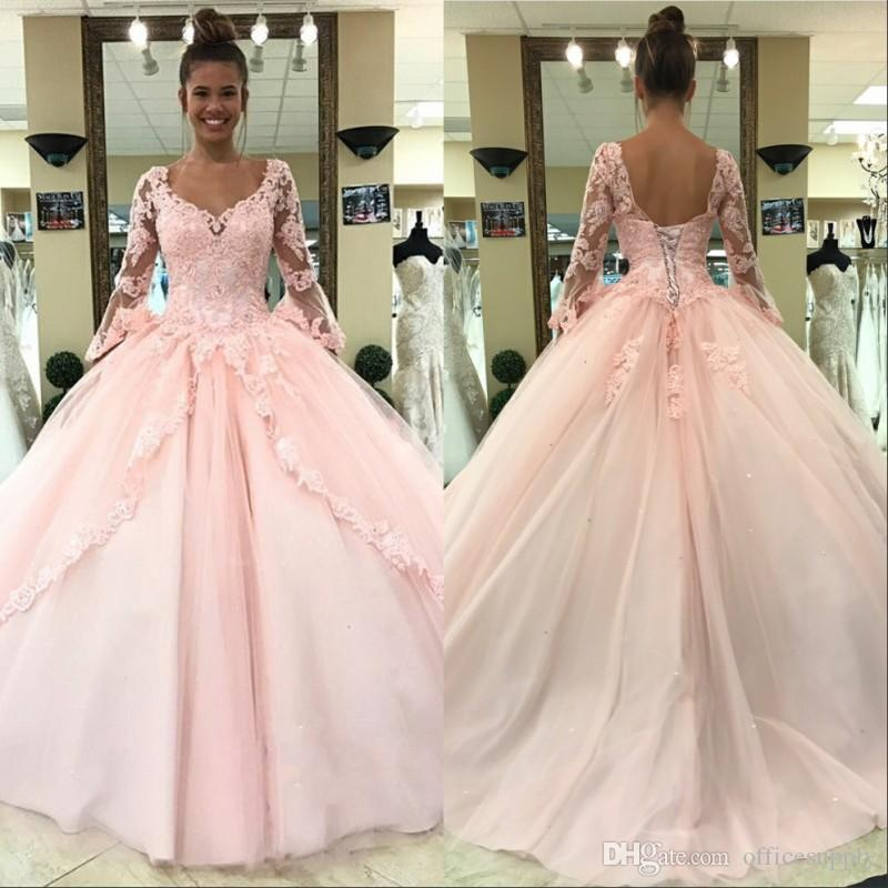 Light Pink Quinceanera Prom Dresses 2019 Long Sleeves Ball Gown Princess Sweet 16 Birthday Sweet Girls Prom Party Special Occasion Gowns