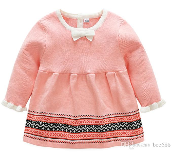 62e04e8d0af3 Retail Spring New Children S Wear Baby Girl Baby Cotton Knitted Wool Dress  Xiao Qi S Long Sleeved Pink Dress Knitted Sweater Patterns For Children  Knitting ...