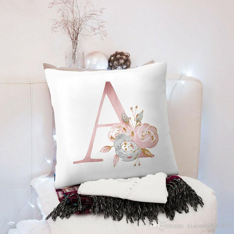 26 Letter Flower Geometric Print Car Cushion Cover Home Decor Sofa Pillow Cases