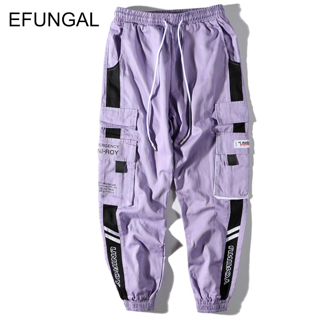 EFUNGAL Color Block Mens Sweatpants Faship Cotton Track Pants Hip Hop Spring Fall Streetwear Midweight Loose Harem Joggers FD133