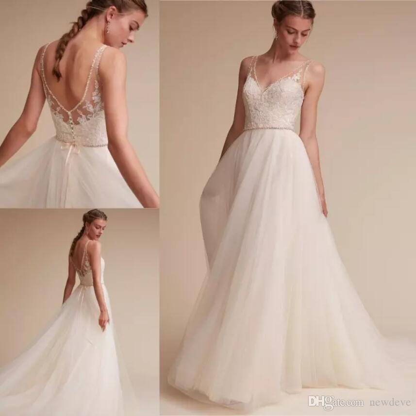 compre bhldn Últimos vestidos de novia de playa granos sin espalda
