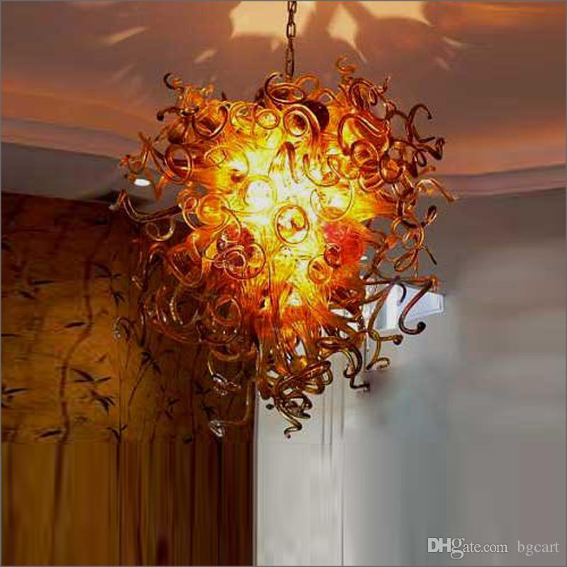 Wholesale Wedding Design Small Cheap LED Pendant Light Colorful Hand Blown Glass Chandelier for New House Decoration