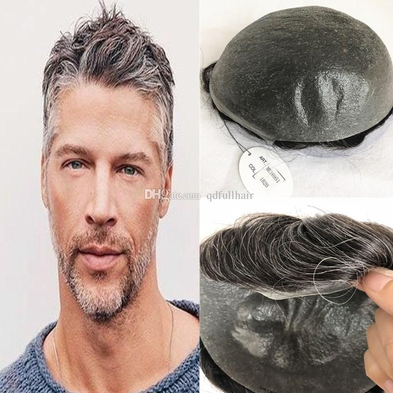 2019 Grey Human Hair Mens Toupee Full Pu Men Wig Thin Skin Pu Toupee