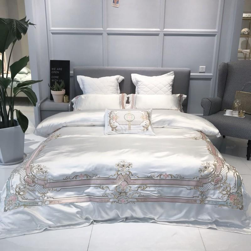 Europe  Chic Embroidery White  Bedding 4/7Pcs Silk Satin Quilt Duvet cover Ultra Soft Cotton Bed sheet Queen King