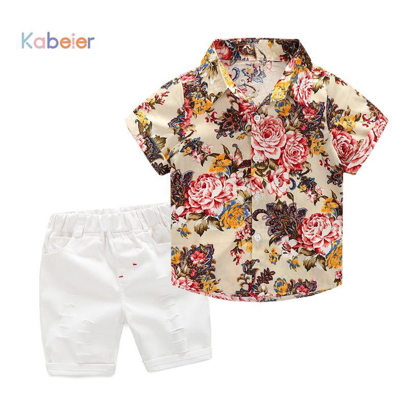 46c1559a80801 High quality Kids Clothing Sets flower T-shirt +short pants 2pcs baby  clothing Boys Clothes Baby boys set 2 3 4 5 6 7years
