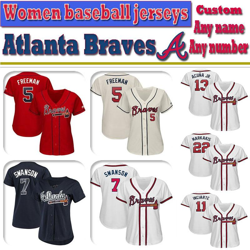 separation shoes 93fa2 fa6fe Custom Atlanta Women Ronald Acuna Jr. Freddie Freeman Dansby Swanson Braves  knit Jersey Ozzie Albies John Smoltz Baseball Jerseys