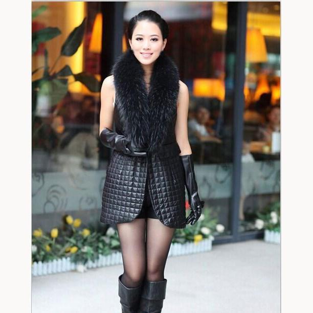 Compre Otoño Invierno Mujer Patchwork Pu Chalecos De Cuero De Piel  Sintética Costura Chalecos Largos Bolsillos Cuello De Piel Más Tamaño  Chaleco Negro A ... 6c2169b389ab