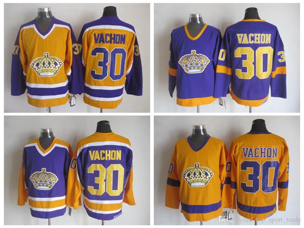 new product e8847 41123 1970 Los Angeles Kings #30 Rogatien Vachon Jersey Vintage CCM Classic LA  Rogatien Vachon Hockey Jersey Best Quality Stitched Yellow Purple