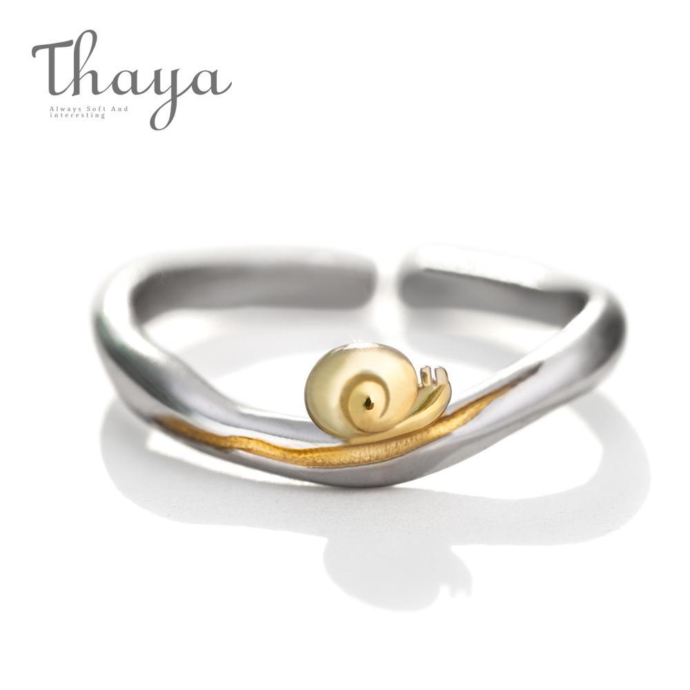 0761efcc089 Thaya Gold Snails S925 Silver Finger Ring Journey Design Handmade Elegant  Wave Ring For Women Gift Female Natural Fine Jewelry J190528