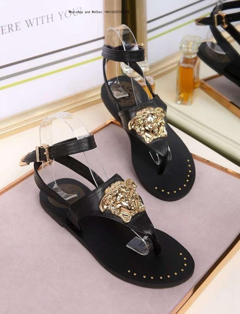 15f2aad24 Compre Marca 2019 Sandálias De Sola Plana Para Senhoras Mulheres Partido  Moda Rebites Meninas Sexy Apontou Sapatos De Casamento De Dança Dupla Alças  De ...