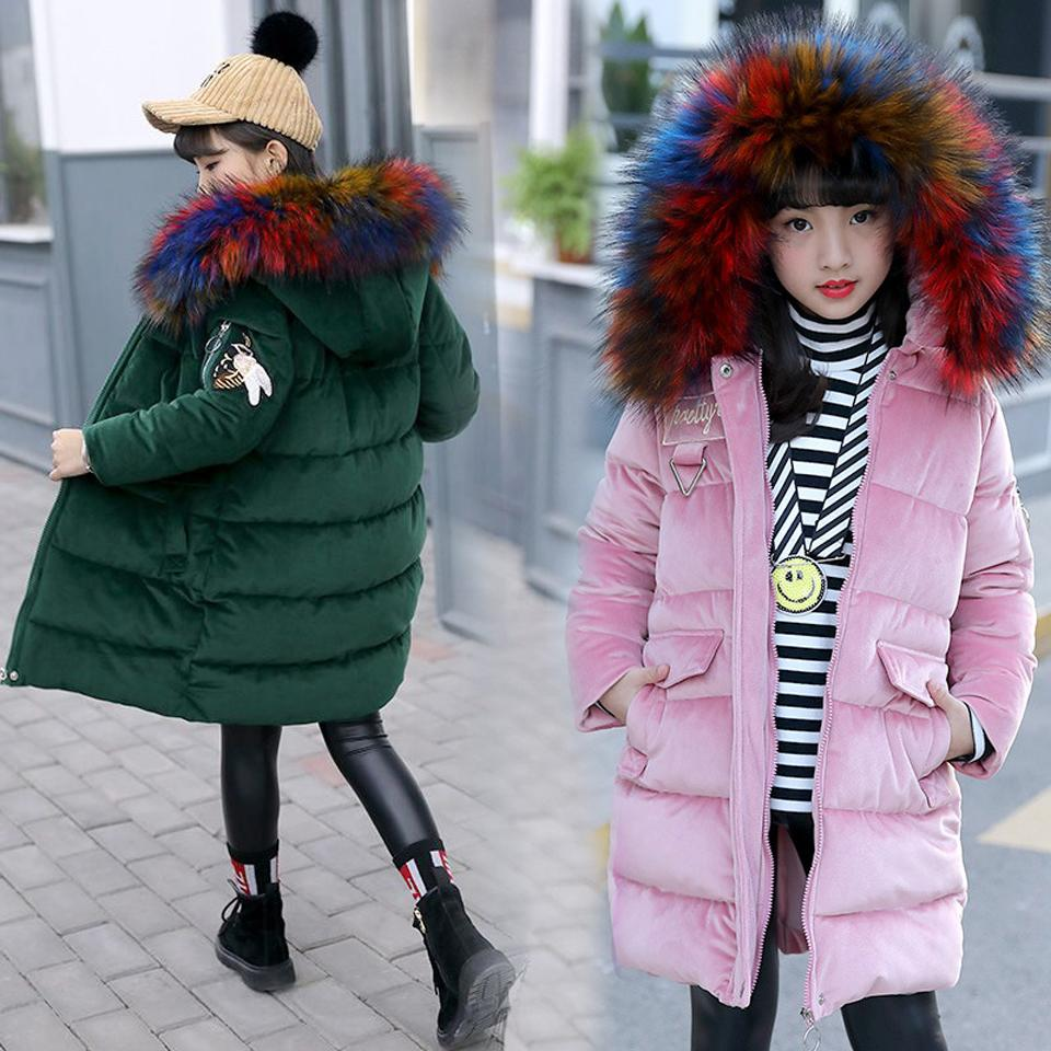 6f7394c261f 5 12 Years Children Girl Down Jacket Winter Thick Warm Long Coat Rainbow Fur  Hooded Kids Outerwear Clothes For Teenager Student Child Coat Overcoat For  ...