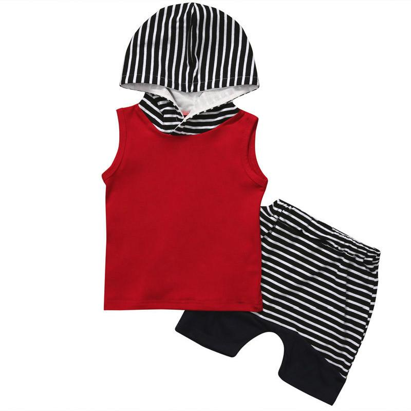 2pcs Newborn Toddler Baby Boy Hooded Tops Vest+Striped Shorts Pants Outfits Infant Children Clothes Set