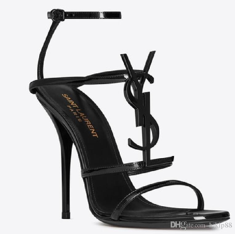 De Sandalias 10cm Lujo Shoes In Gold Stock New Party Tacones Ladies Aguja Mujer Bombas Zapatos Ysl Moda Diseñador Mujeres Boda m7IbgYfy6v