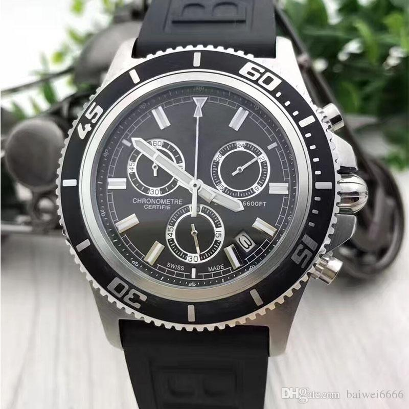 Brand New Superocean Heritage Chronograph Quartz Watch Avengers 44mm Black Dial Mens Watches Men Dress Wristwatches Orologio di lusso