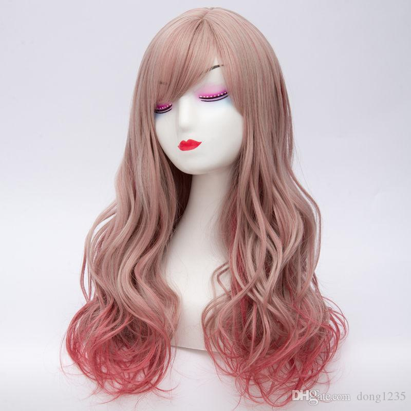 60CM Women Lolita Long Wavy Mixed Red Hair Cosplay Heat Resistant Wig+Cap >>>>>Free shipping New High Quality Fashion Picture wig