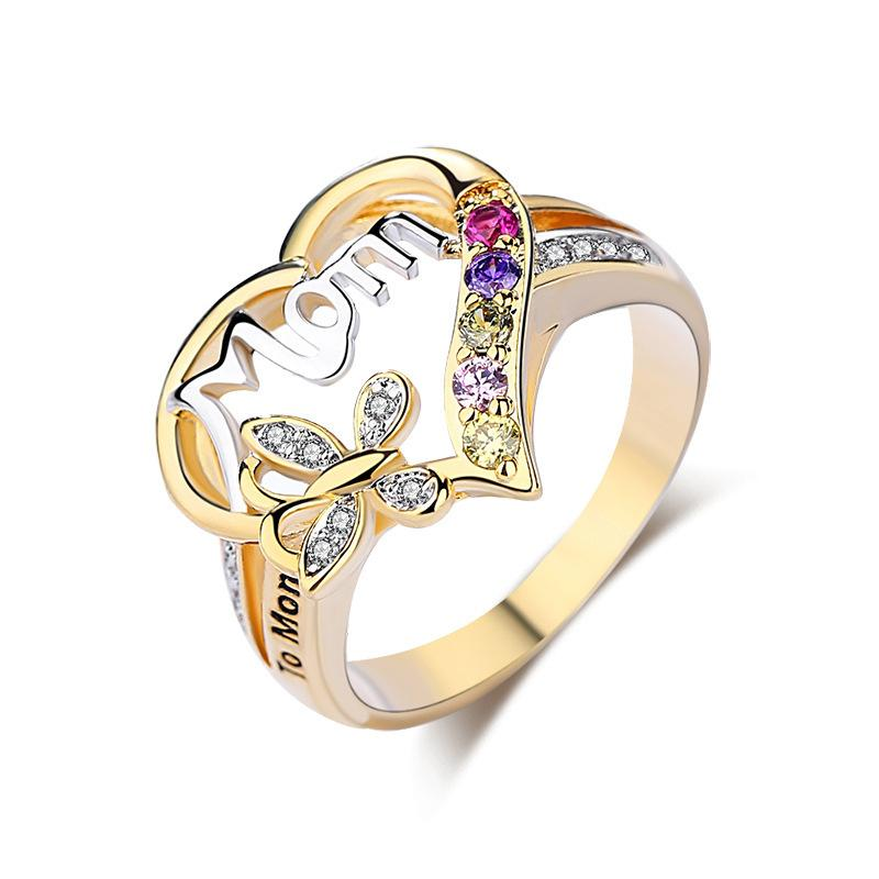 Fashionable and elegant Loving Mother's Ring Mother's Day Gift MOM Ring luxury designer jewelry women rings designer ring