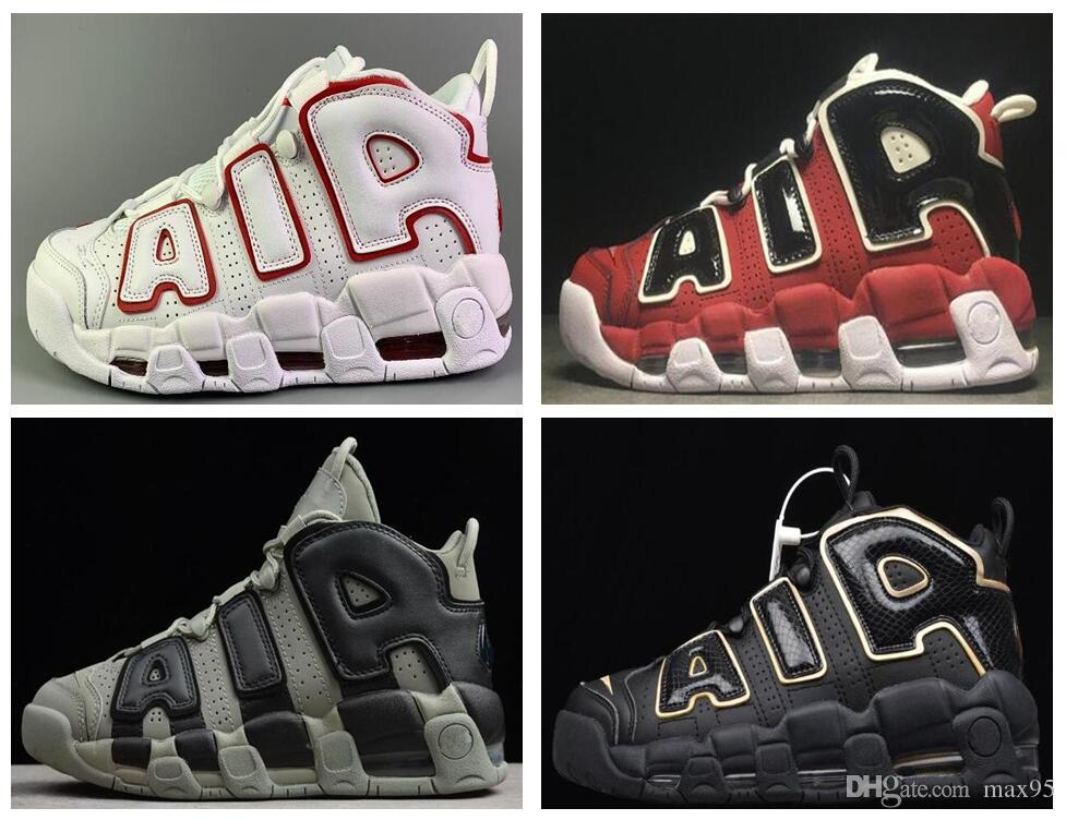 "2018 Air More Uptempo OG ""Tri-Color"" Mens Basketball Shoes Wholesale Top Quality Big Pippen 921948-002 Athletic Sport Sneakers Eur"