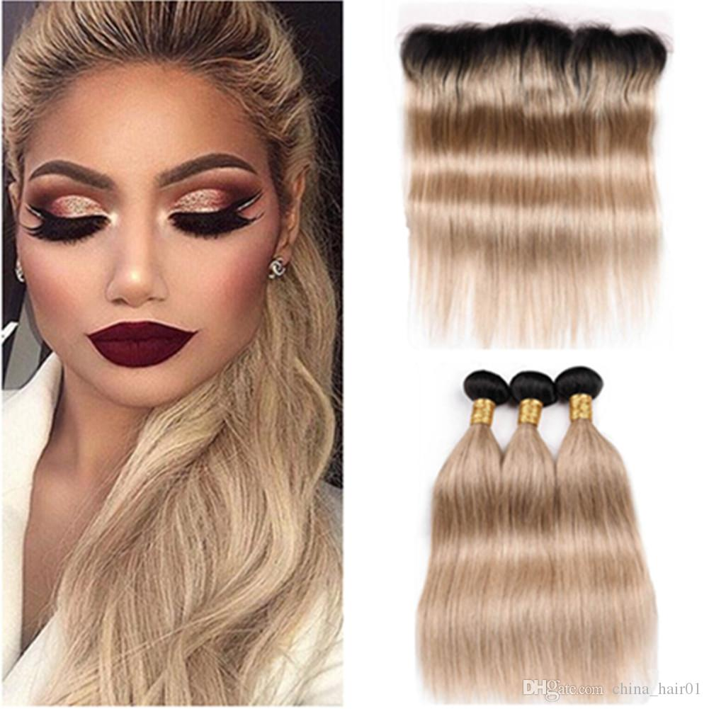 #1B/27 Honey Blonde Ombre Straight Brazilian Human Hair Full Lace Closure 13x4 with Weaves Light Brown Ombre 3Bundles with Lace Frontal