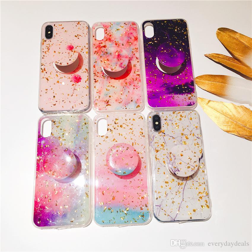 sports shoes 3a4b5 a3ee3 Gold Foil Bling Glitter Marble Phone Case for iPhone XS Max XR X 8 7 6 Plus  Soft Silicone phone cases with Bracket