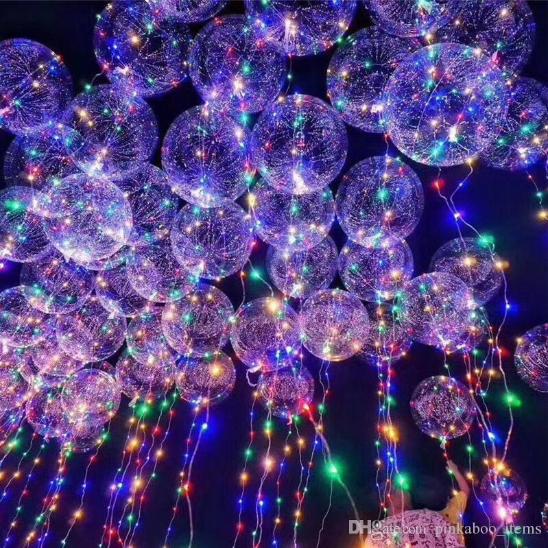 "LED Light Bobo Ball Balloon with Flashing Wave Night Lights 3M String 20"" LED Luminous Transparent Balloons Xmas Party Decora Children Toys"