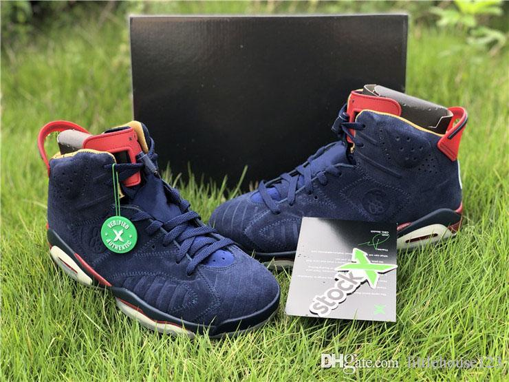 a2d81be2749e9a 2019 2019 Authentic 6 Retro Doernbecher 15th Anniversary Midnight Navy  White VARSITY RED METALLIC GOLD Men Basketball Shoes Sneakers 392789 401  From ...