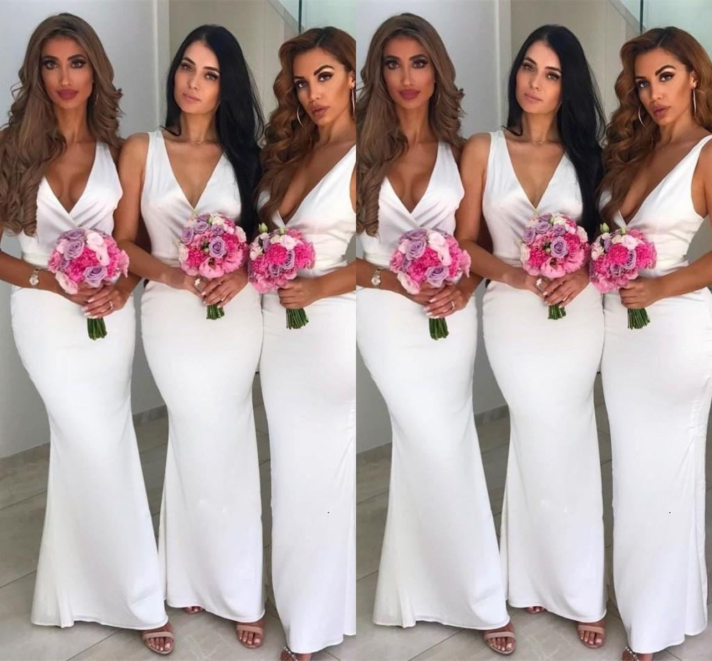 Glamorous White V-Neck Sleeveless Bridesmaid Dresses Mermaid Zipper Back 2019  Maid of Honor Dress Custom Made Party Dresses Cheap On Sale Bridesmaid Dress  ... 6c5511c96b08