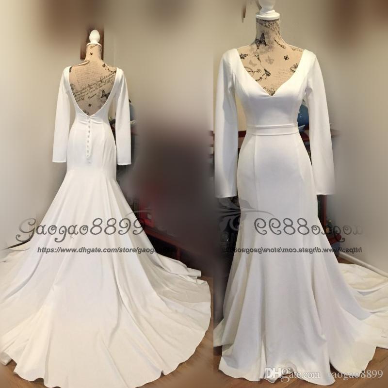 Who Designed Megan S Wedding Dress.Modest Megan Markle Style Princess Satin Mermaid Wedding Dresses Long Sleeves 2019 V Neck Backless Trumpet Bridal Wedding Gowns Cover Button