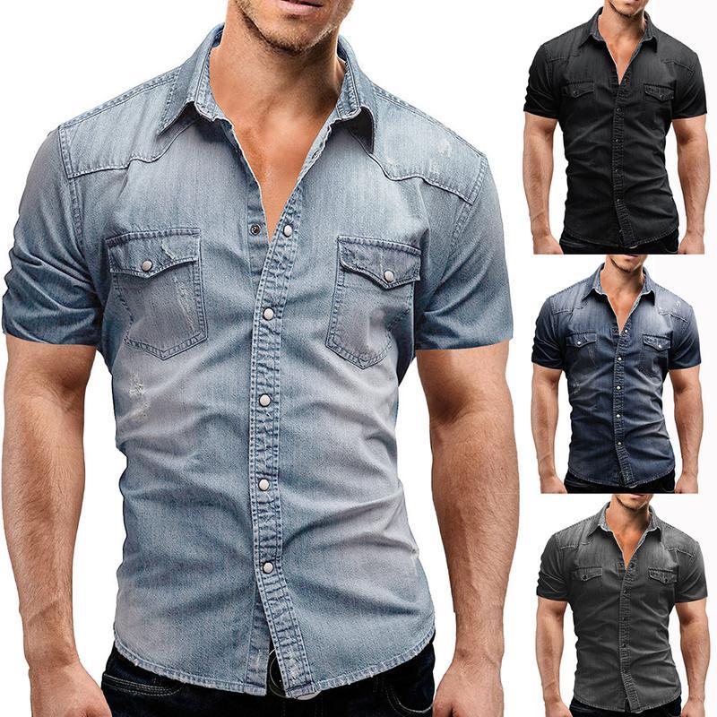 new product f013b d8f3f Sommer neue freizeithemd herren kurzarm einfarbig jeanshemd männer große  größe lose fit mode denim