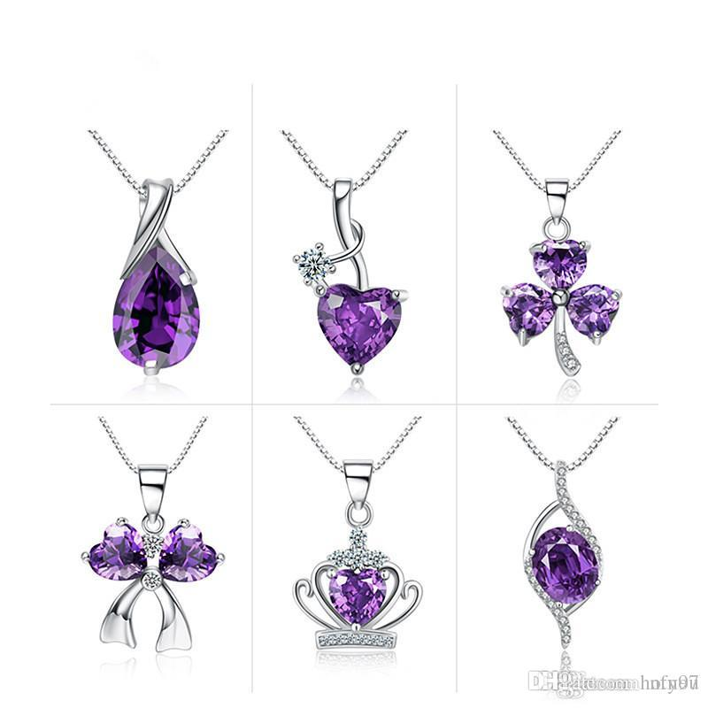 Hotyou Free shipping! Pure silver jewelry 925 Pure silver necklace Amethyst zircon plating Platinum zircon pendant clavicle chain jewelry