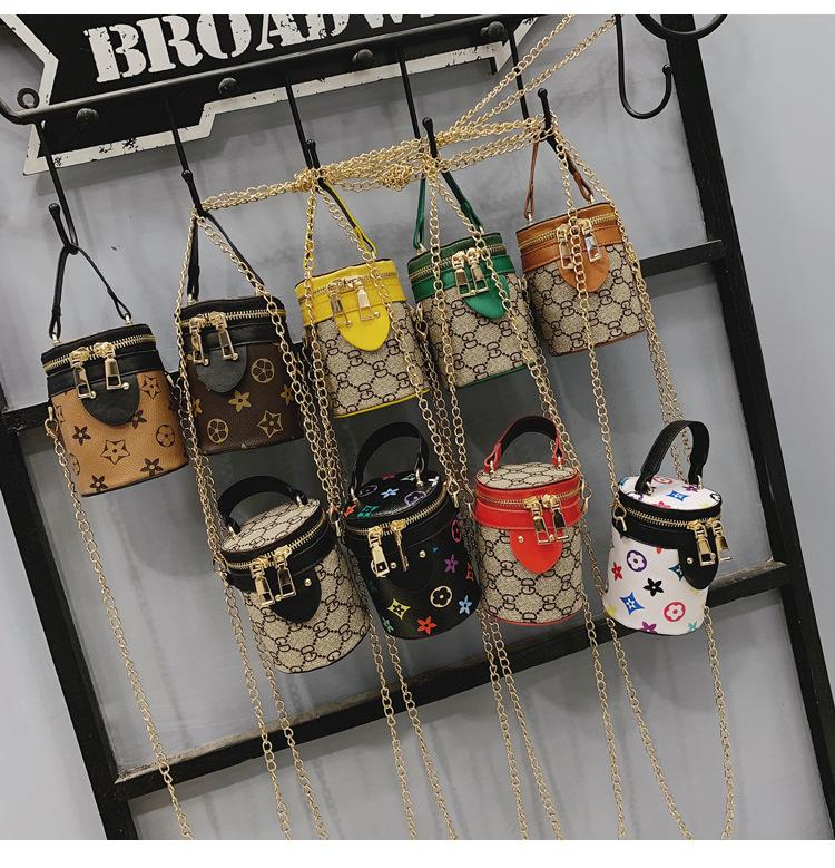 Girls Mini Bucket bag chain Crossbody Bags Kids Handbags Fashion Princess Purses Bucket Shoulder Bags Children Coin Bags Gifts DHL FJ508