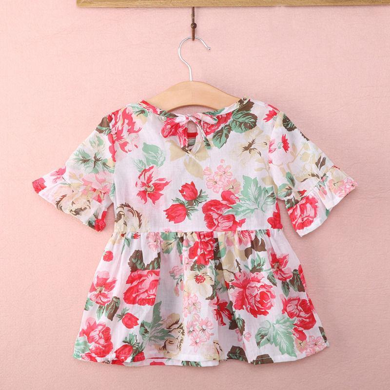 Schöne neugeborenes Kind-Baby-Kind-Mädchen-Kleidung Baumwollbeiläufiges Princess Floral Flounced Sleeved Tops Bluse Drucken Baby-Kleid